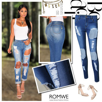 Hot Sale Slim Stretch Skinny Pants Ripped Holes Women's Fashion Jeans [11597543439]