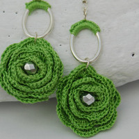 Flower crochet earrings - Long earrings - Crochet jewelry -Green  earrings - Fashion jewelry - Gift idea