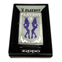 Zippo Custom Lighter - Blue Costumed Playboy Girls with Bunny Logo - Regular High Polish Chrome 250CI017672