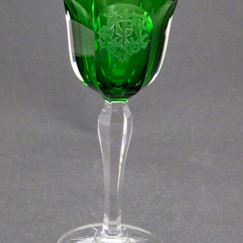 ABP  Hand Cut Signed hawkes  fluted stem with green bowl etched
