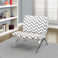 "Accent Chair - Grey "" Chevron "" Fabric / Chrome Metal"