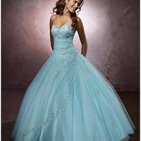 [189.99] Charming Satin & Tulle Sweetheart Neckline Floor-length Ball Gown Prom Dress - Dressilyme.com