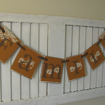 Family Banner Bunting Garland Rustic Orange and Brown with Linen Background Great Family Photo Prop Can Custom Colors to Your Home Decor