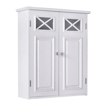 Bathroom Wall Cabinet in White with Crisscross Pattern Window