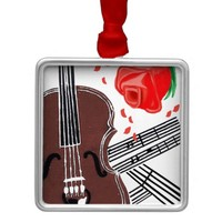 Violin with Rose and Sheet Music Square Ornament