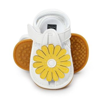 0-18M Newborn Toddler Shoes Soft PU Baby Girls Sandals Big Sunflower Shoes Children Shoes