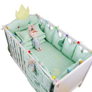 9 Pcs Baby Personalized Bedding Set Luxury Cotton Baby Cot Necessaries Crown Design Crib Bumpers Bed Sheet Quilt Pillow+Filling