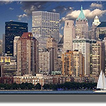 NYC Panorama and Boat Picture on Stretched Canvas, Wall Art Decor, Ready to Hang!