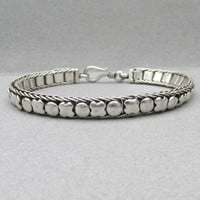 Sterling Silver Puffy X O Hugs Kisses Link Vintage Bracelet