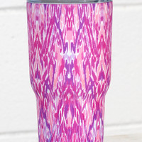 Stainless Steel 30 oz Tribal Print Hot/Cold Tumbler {Fuchsia}