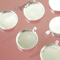 5 - Silver Color Bezel Cameo Setting Charm Pendant Blanks, Fits 25MM Round Cabochon