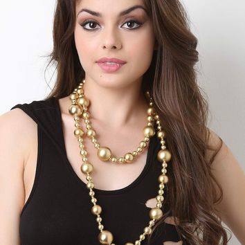 Long Pearl Beaded Accent Necklace
