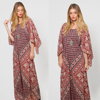 Vintage 70s Ethnic Caftan Burgundy FLORAL Hippie Maxi Dress Gypsy Dress Boho ANGEL Sleeve Dress