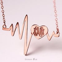 Carved Monogram Heartbeat Necklace, Heart beat Jewelry, Heart Necklace, nameplate necklace, Sterling Silver Monogram necklace,