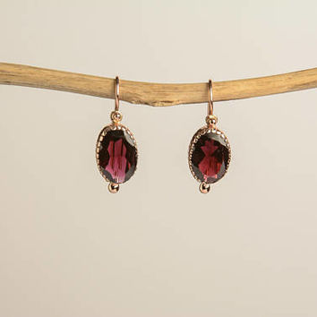 Oval Garnet Drop Earrings in 14K Rose Gold Wire back with hook and lever