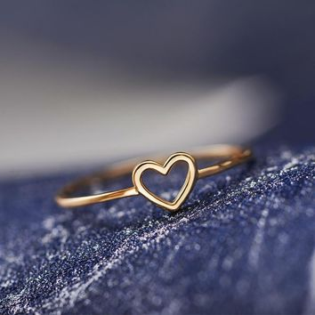 New Cute Little Heart-shaped Love Heart Thin Ring For Women Girl Gold Silver Finger Simple Best Friend Wedding Fashion Jewelry