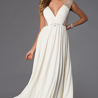 Floor Length V-Neck Dress by Shimmer
