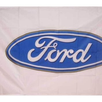 Ford Logo on a 3' x 5' white Polyester Flag