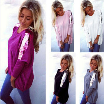 Batwing Sequin Long Sleeves Scoop Casual Blouse