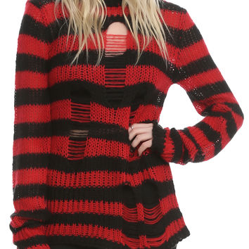 Tripp Red And Black Stripe Sweater