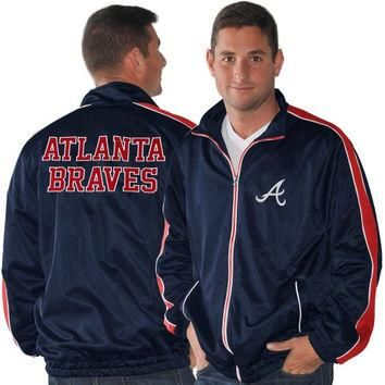 Atlanta Braves 2 Point Conversion Full Zip Track Jacket - Navy Blue/Red