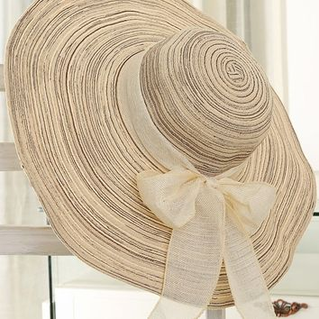 Streetstyle  Casual Striped Bowknot Beach Large Brimmed Hat