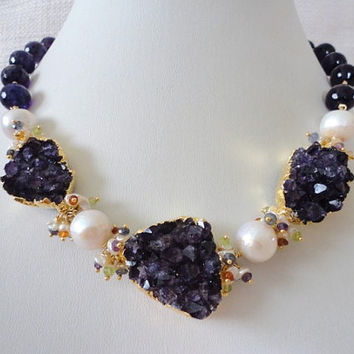 gold bead necklace. amethyst, druzy, cultured freshwater pearls, multi gemstones. beaded statement necklace. unique necklace for women