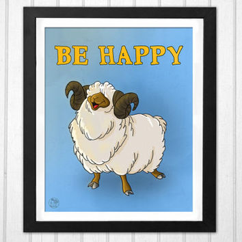 Be happy quote cartoon sheep illustration nursery PRINTABLE poster INSTANT DOWNLOAD