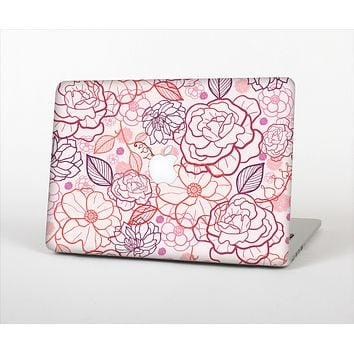 "The Subtle Pink Floral Illustration Skin Set for the Apple MacBook Pro 13"" with Retina Display"
