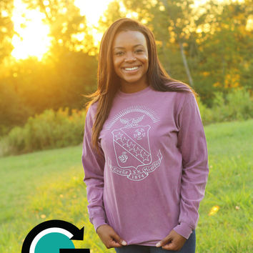 CUSTOM Comfort Colors Sorority Crest Long Sleeve Shirt