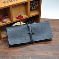 1X Black Leather Tobacco Pouch Bag with Wallet Tip Paper Holder Slot Smoking Pipe Bag Tobacco Bag
