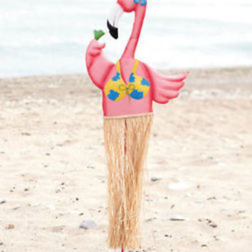 Metal Hawaiian Hula Flamingo Garden Stake Tropical Grass Skirt Luau Yard Decor
