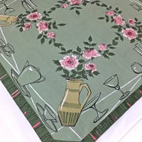 Retro Tablecloth - Vintage Table cover - PInk Roses Tablecloth - Wedding Table Cover, Tableware, Serving