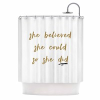 Believe - Gold White Typography Digital Shower Curtain