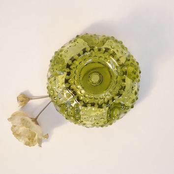 Fenton Centerpiece Candle Holder Hobnail Design Saw Tooth Arches Green Glass, Vintage Fenton Glass Centerpiece Multiple Size Candle Holder