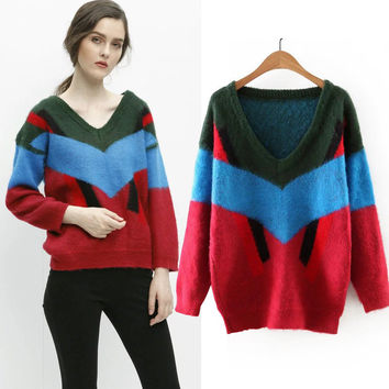 Winter Stripes Pullover V-neck Sea Sweater [6332340100]