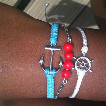 Turquoise Red and White Nautical Stack Set of 3