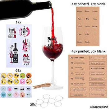 Emoji Wine Glass Charms 63x Printed and Writable Tags 123x Circle Clips 50x and Reusable Wine Glass Stickers with Funny Texts 17x  Personalize Wine Glasses  For Dinner Party Wedding BBQ