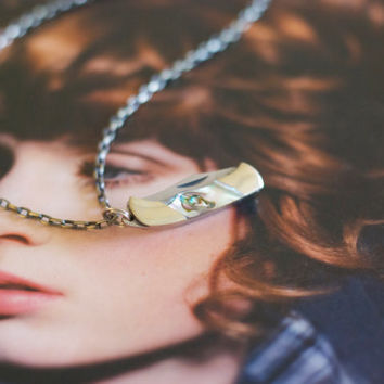 Miniature Pocket Knife Necklace-  Mother of Pearl