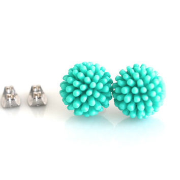 Teal stud earrings, aqua studs, resin stud earrings, stud post earrings, funky teal earrings, aqua large studs, chunky girls earrings,12mm