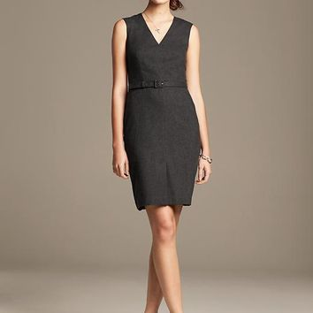 Belted Charcoal Wool Sheath