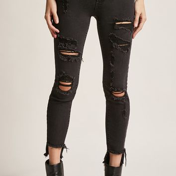 Distressed Step-Hem Jeans