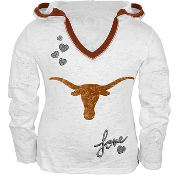 Texas Longhorns - Girls Juvy Burnout Hooded Long Sleeve T-Shirt