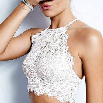 Eyelash Lace High-Neck Bralette - PINK - Victoria's Secret