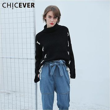 CHICEVER Black Jumper Long Sleeve Lace up Turtleneck Sweater Female Knitting Pullover Women's Winter Sweaters Top Casual Clothes