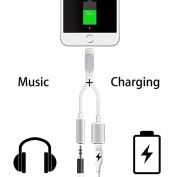 2 in 1 usb charging charger adapter for iphone 7 iphone7 plus headphone jack aux cable lighting to dc 3 5mm audio converter 2