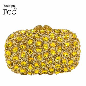 Boutique De FGG Sparkling Gold Crystal Women Evening Purse Clutch Bag Bridal Wedding Party Handbags Hollow Out Metal Clutches