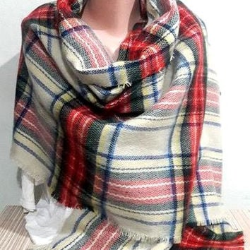 Blanket Scarf Tartan Shawl Plaid Scarf  Oversized Pashmina Wool Scarf  Women Men Fashion Accessories Gift For Her