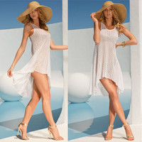 Sheer Sleeveless Dipped Hem Cover Up