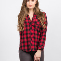Hooded Contrast Flannel Shirt